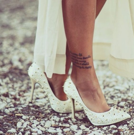 Wording Tattoo On Ankle For Girls