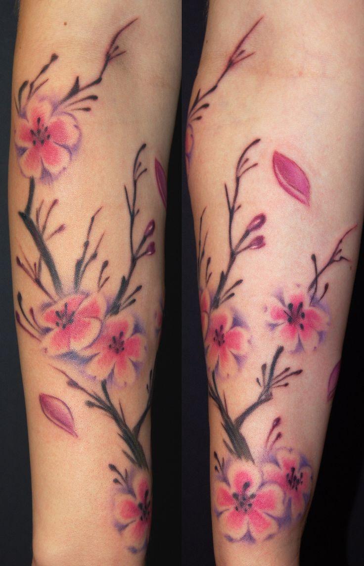 Lovely Cherry Blossom Tattoo On Forearm