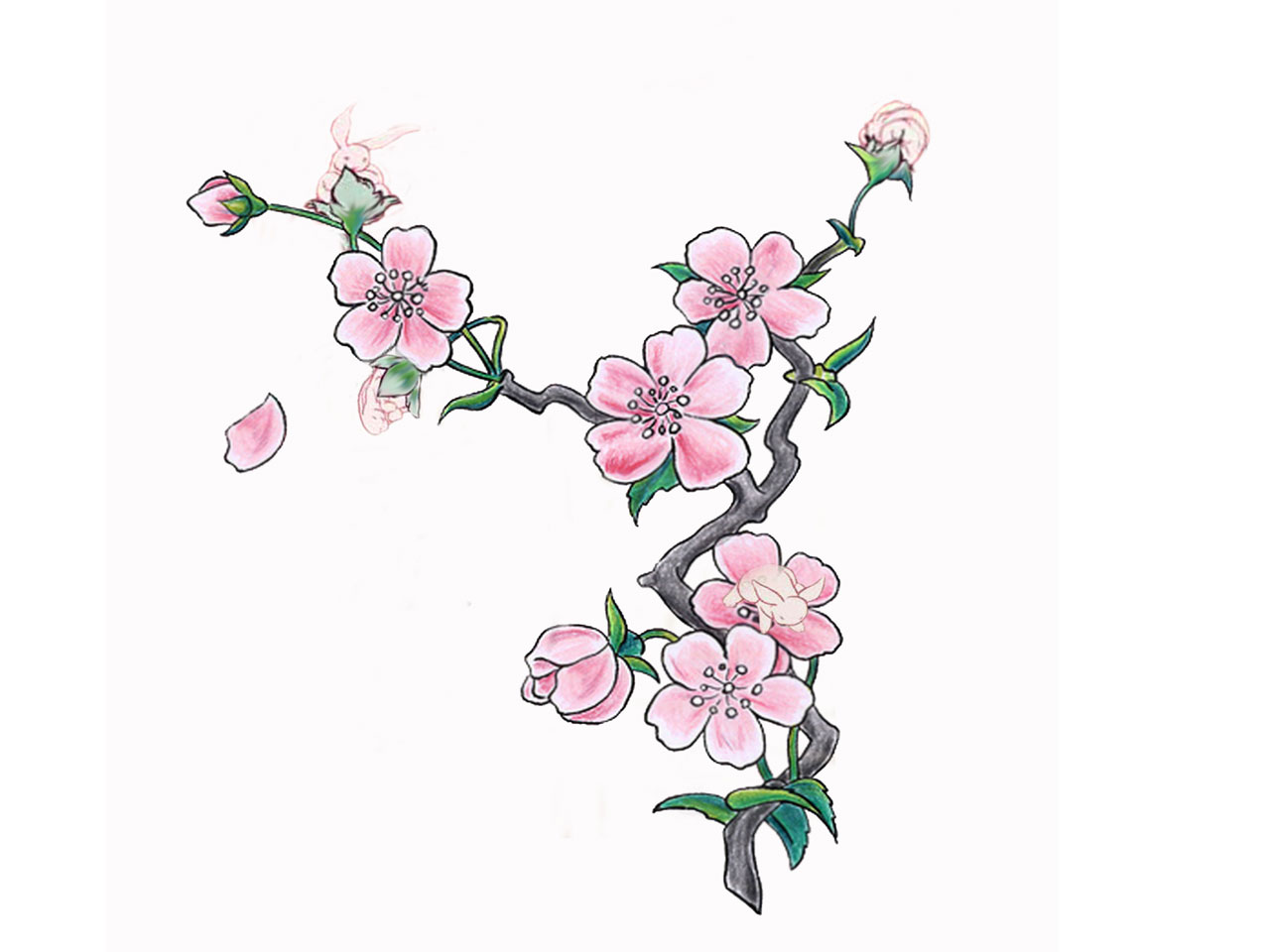 Simple Cherry Blossom Tattoo Stencil