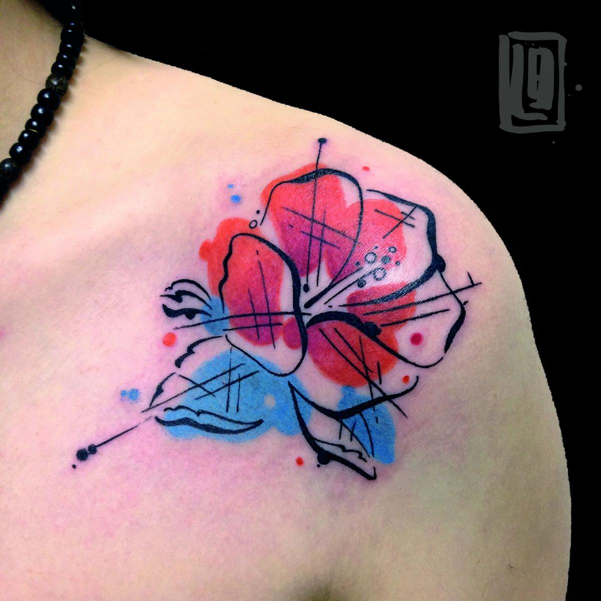 Abstract Hibiscus Tattoo On Girl Shoulder