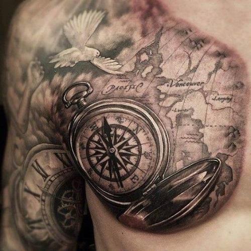 Amazing Pocket Compass Tattoo On Man Chest