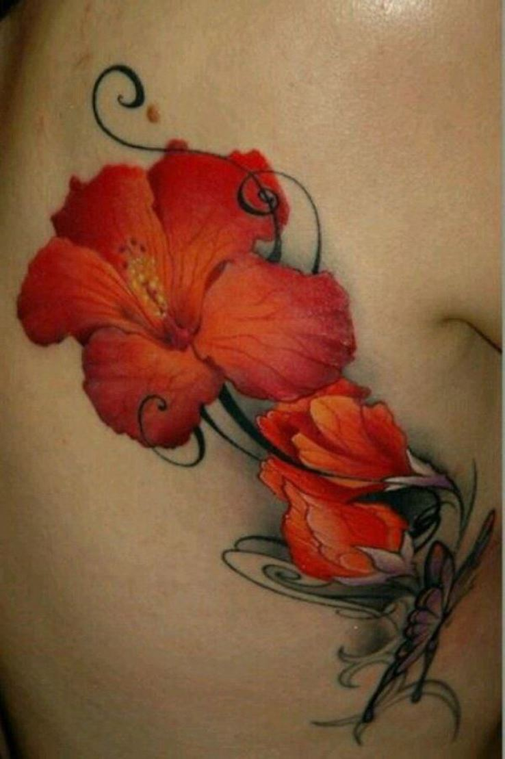 Amazing Side Rib Hibiscus Flower Tattoo