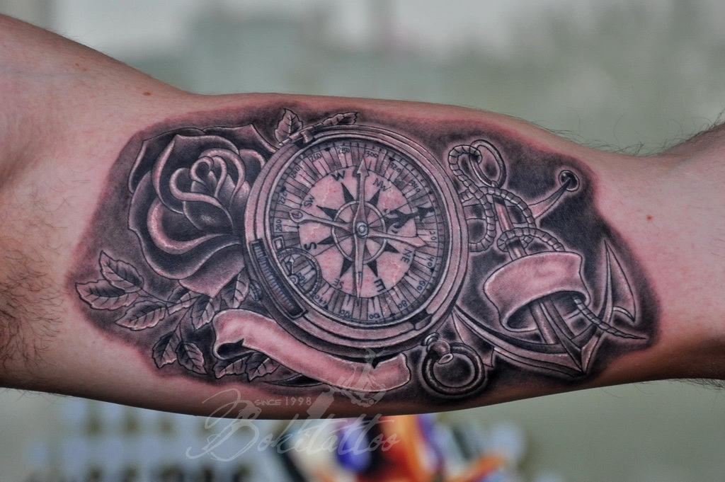 Anchor And Compass Tattoo On Left Bicep