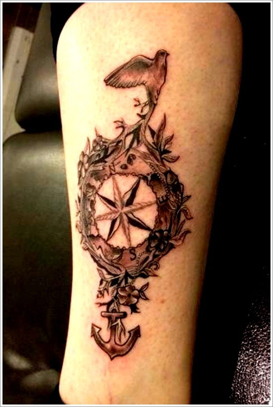 Anchor And Compass Tattoo On Leg
