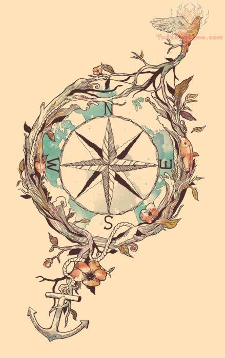 Compass Tattoo Drawing Sample