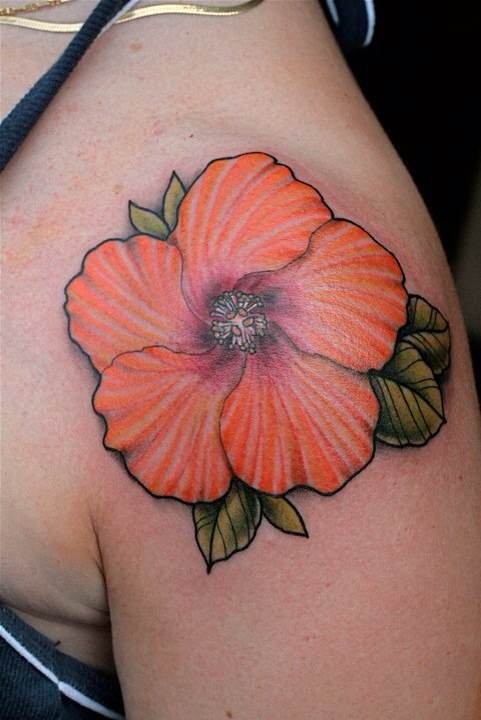 Awesome Hibiscus Tattoo On Upper Shoulder For Girls
