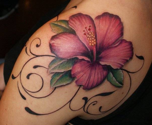 Awesome Pink Hibiscus Tattoo On Girl Shoulder