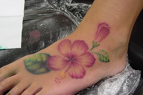 Beautiful Hibiscus Flower Tattoo On Foot By Sabrina Ricci