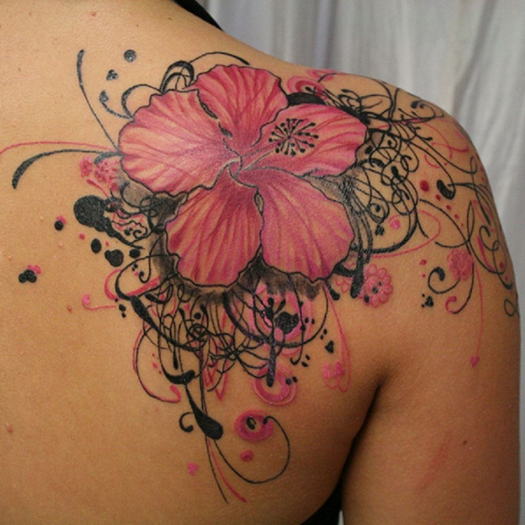 Beautiful Pink And Black Hibiscus Tattoo On Right Back Shoulder