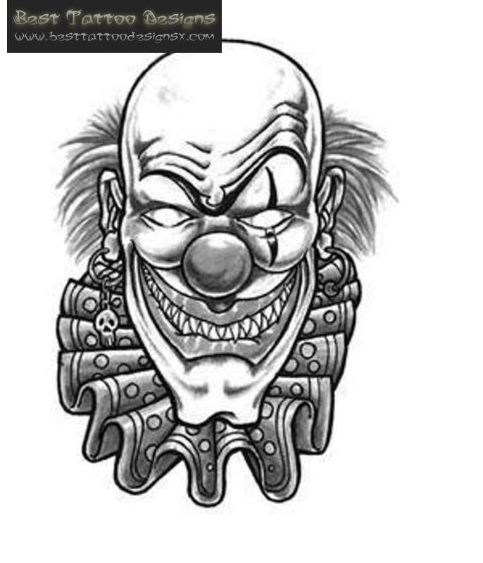 Clown tattoo designs black white