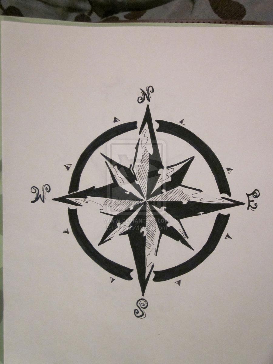 Black Outline Compass Tattoo Design