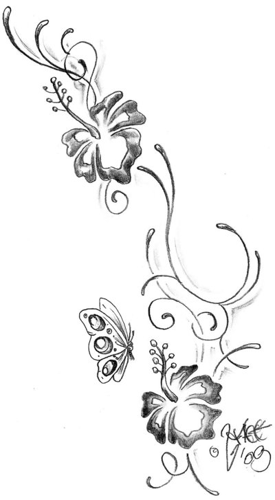 Butterfly And Hibiscus Flowers Tattoo Design