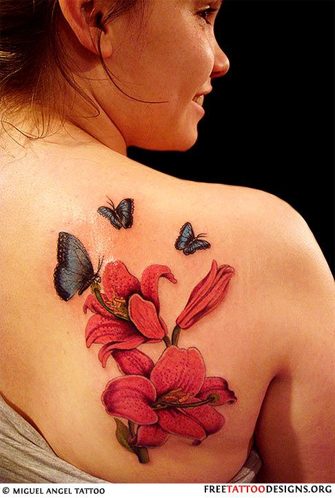Butterfly Hibiscus Tattoo On Girl Back Shoulder