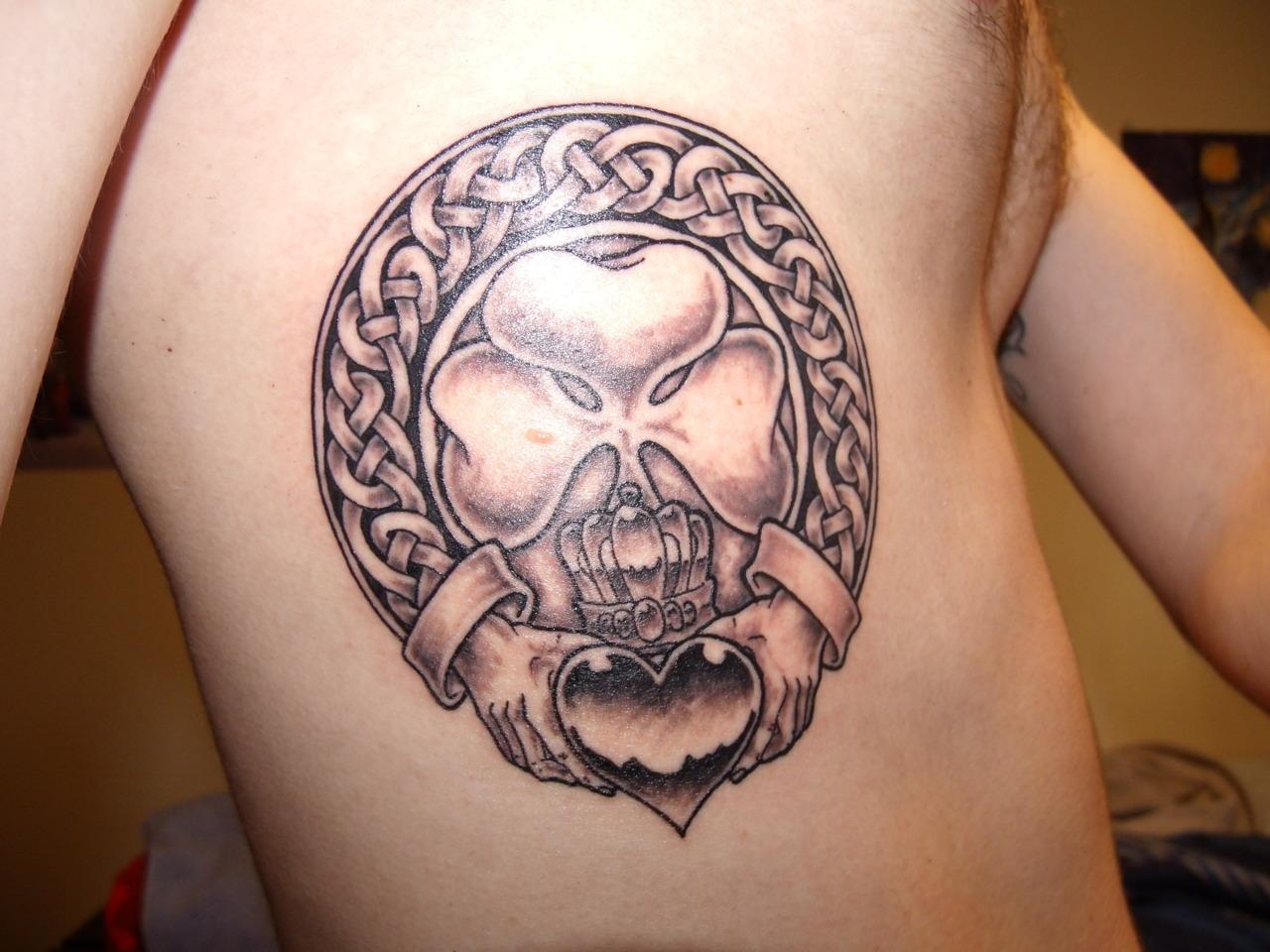 Man Rib Side Claddagh Tattoo