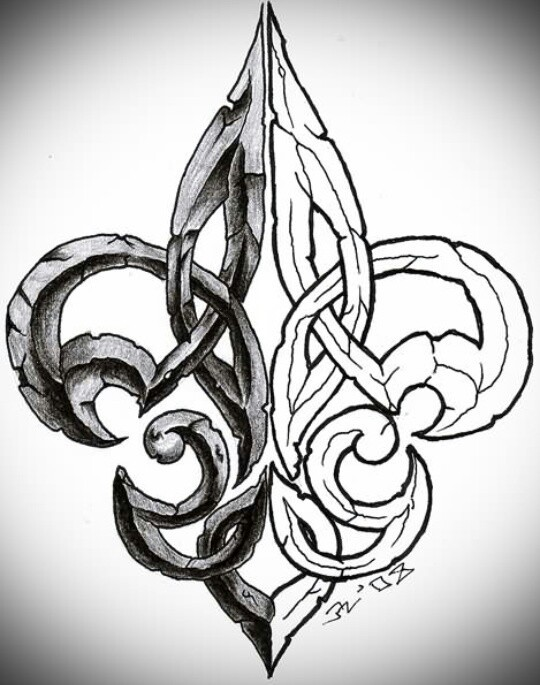 Unique Fleur De Lis Tattoo Design