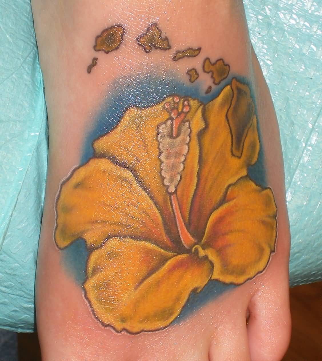 Colored Yellow Hibiscus Tattoo On Foot