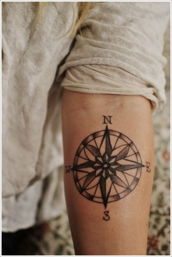 Compass Tattoo On Left Arm