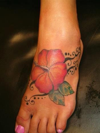 Cool Hibiscus Flower Tattoo On Girl Foot