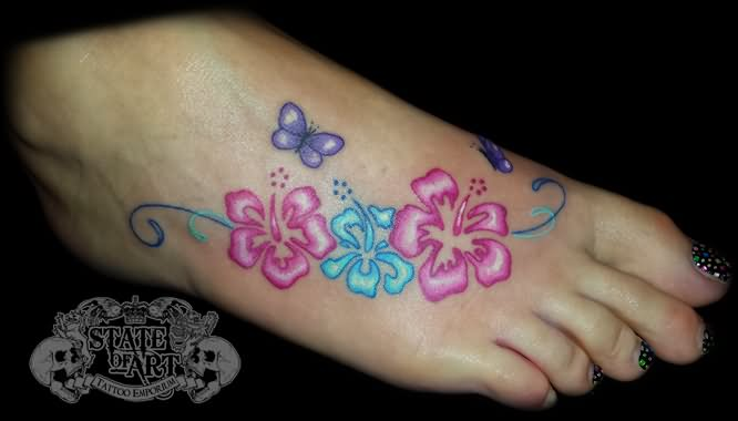 Cute Butterflies And Hibiscus Tattoo On Right Foot