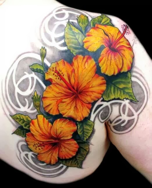 Fantastic Yellow Hibiscus Flowers Tattoo For Girls