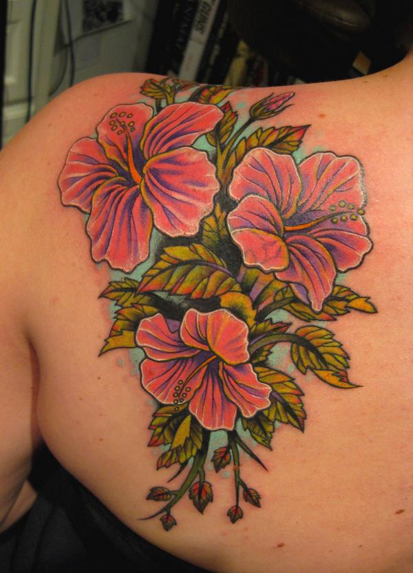 Floral Hibiscus Tattoo On Back Shoulder