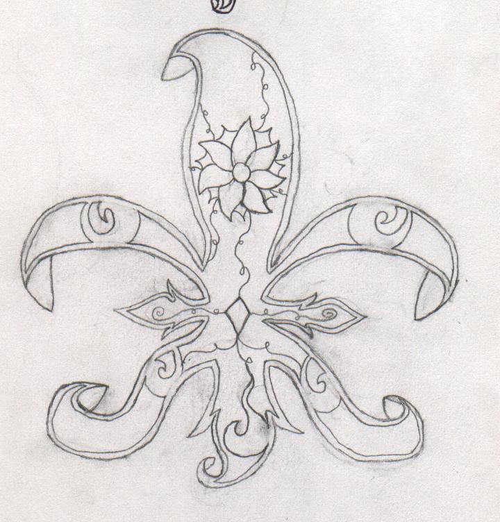Cool Tribal Fleur De Lis Tattoo Drawing By Crisslowwpolarbear