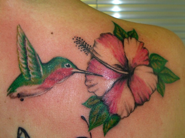 Flying Hummingbird And Hibiscus Tattoo On Shoulder
