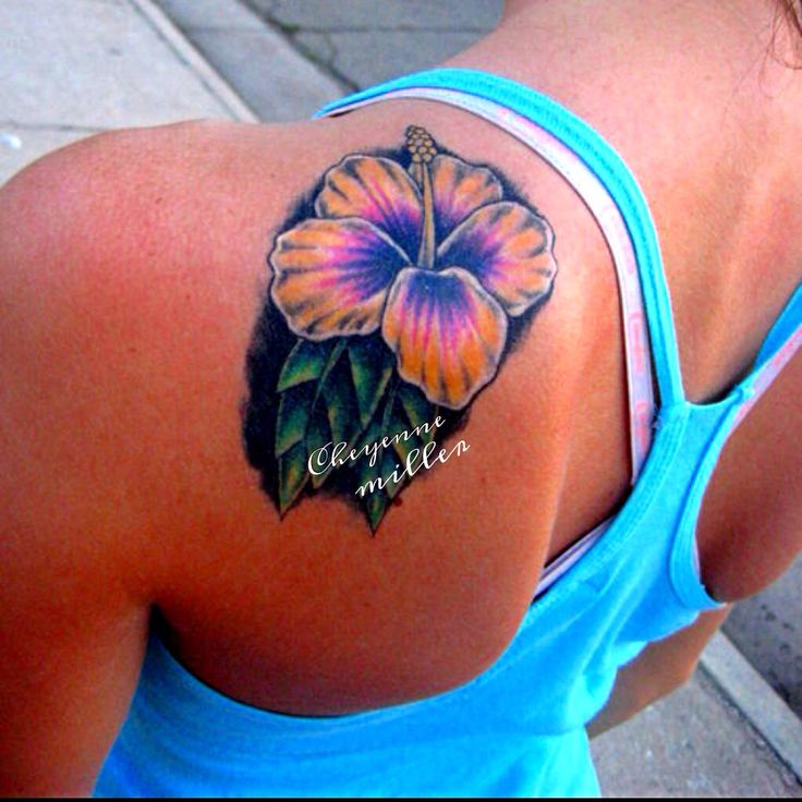 Girl Left Back Shoulder Hibiscus Flower Tattoo
