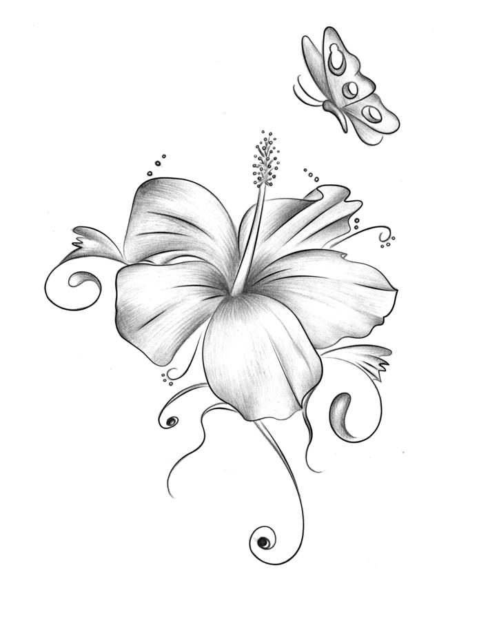 Grey Hibiscus Flower With Butterfly Tattoo Design By Xxmoonlight