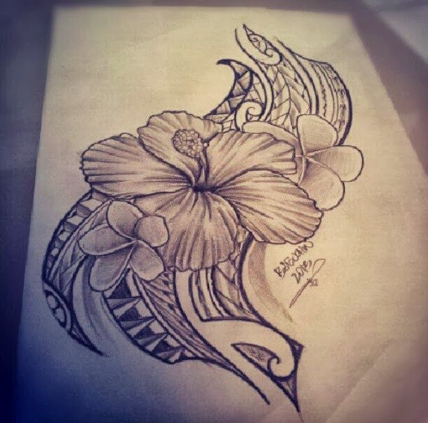 Grey Ink Tribal Hibiscus Tattoo Drawing