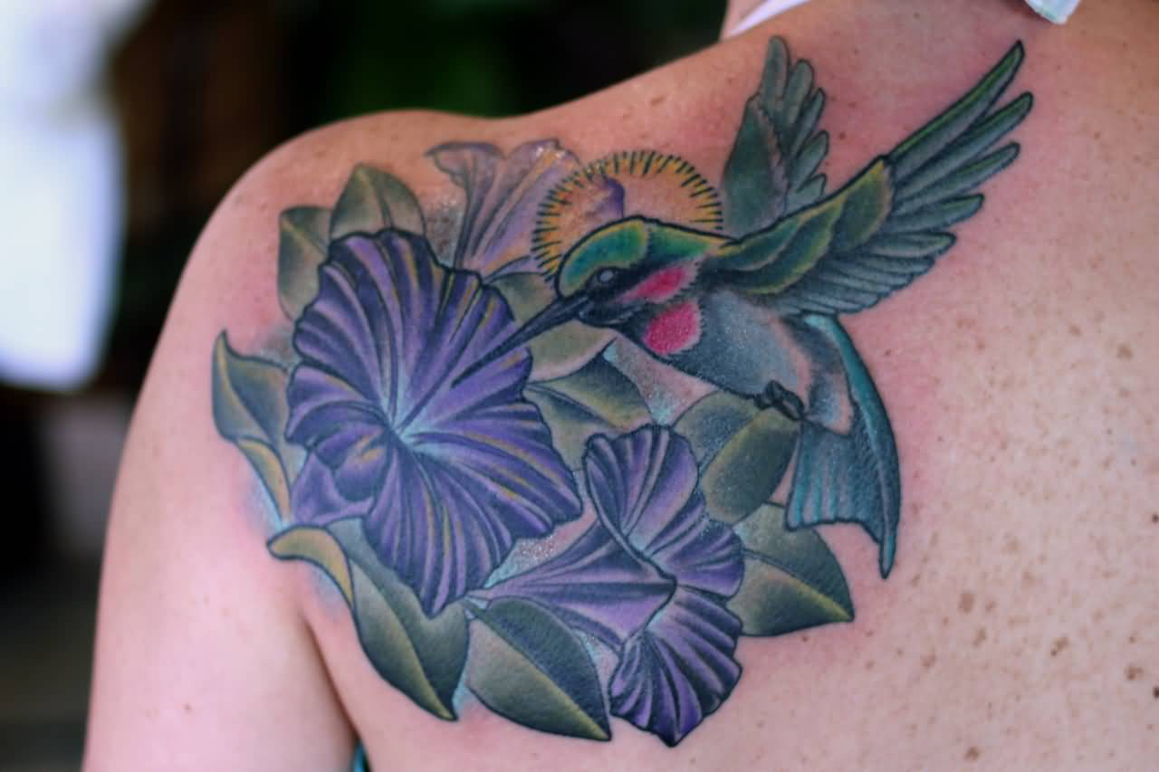 Hibiscus And Hummingbird Tattoo On Back Shoulder