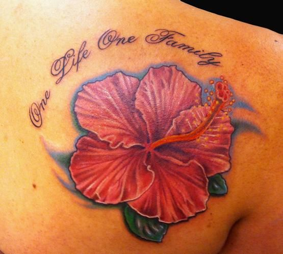 Hibiscus Family Tattoo On Back Shoulder