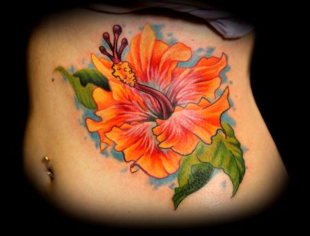 Hibiscus Flower Tattoo On Side Rib For Girls