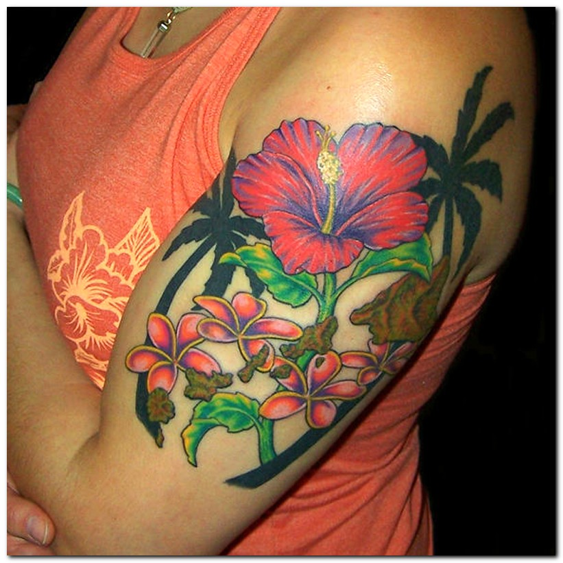 Hibiscus tattoo images designs for Flower tattoo arm