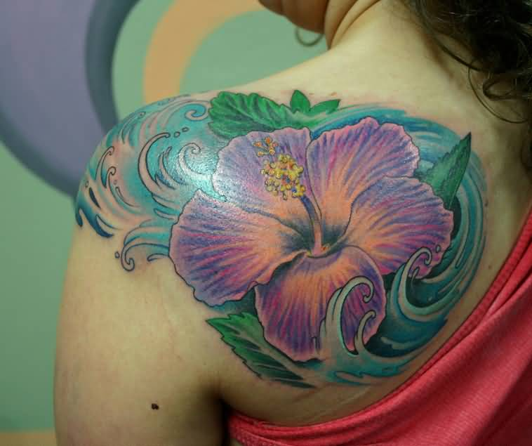 Hibiscus In Water Tattoo On Girl Back Shoulder