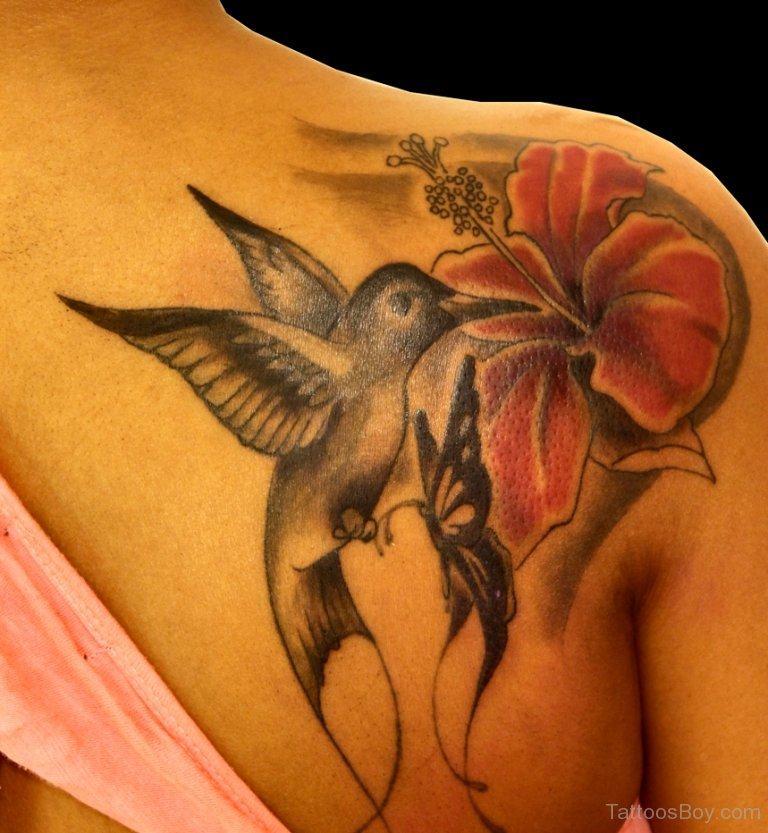 Hibiscus With Bird And Butterfly Tattoo On Girl back Shoulder