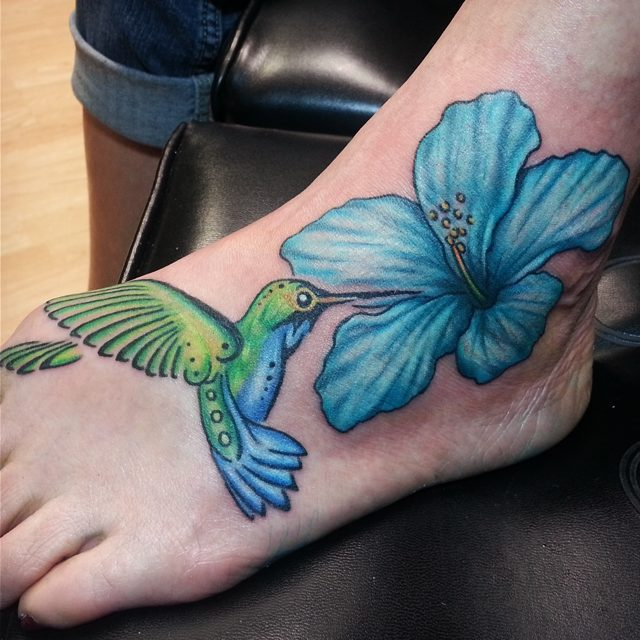 Hummingbird And Hibiscus Tattoo On Foot