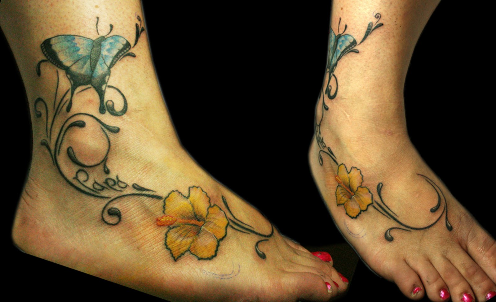 Impressive Hibiscus Tattoo On Right Foot