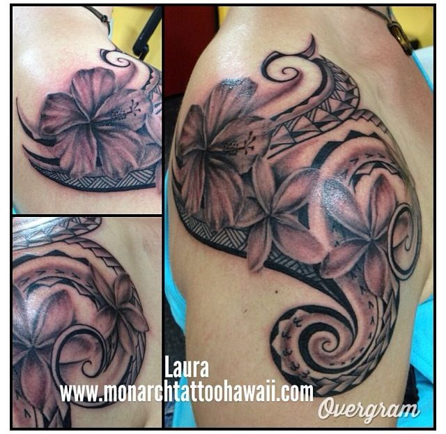 Impressive Tribal Hibiscus Tattoo On Shoulder