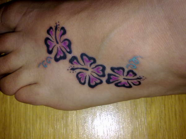 Left Foot Hibiscus Tattoo