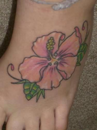 Left Foot Pink Hibiscus Tattoo