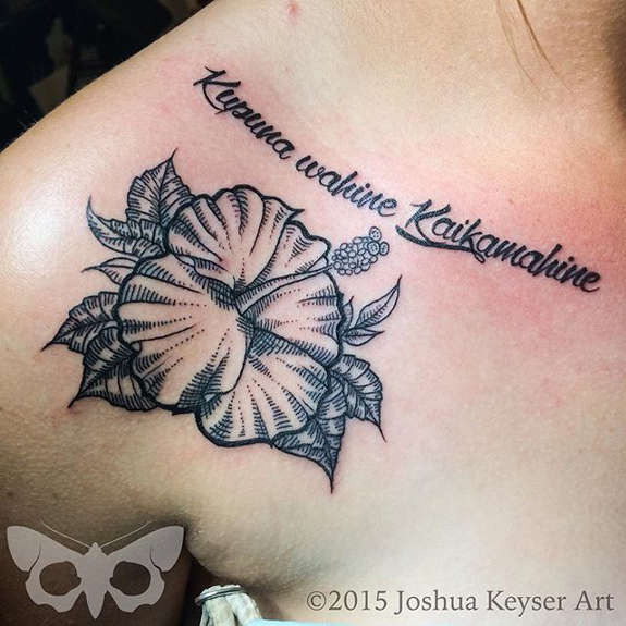 Lettering And Hibiscus Tattoo On Upper Shoulder For Women