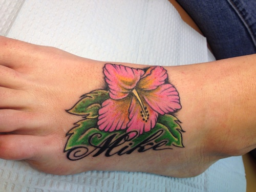 Mike Hibiscus Tattoo On Foot