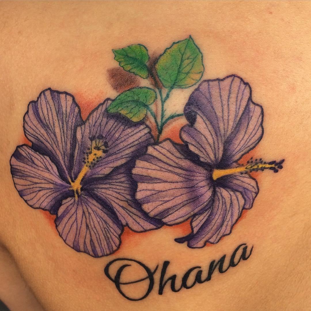 Ohana Hibiscus Flowers Tattoo