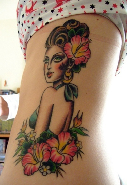Old School Hibiscus Girl Tattoo On Side Rib
