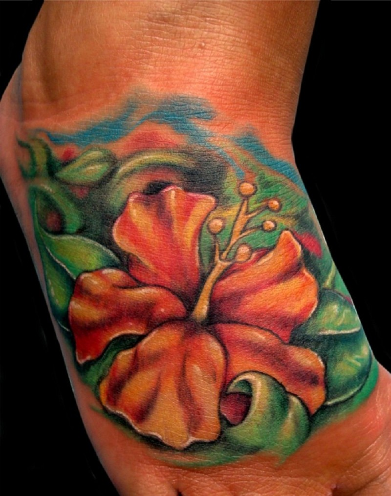 Orange Hibiscus Flower Tattoo On Foot