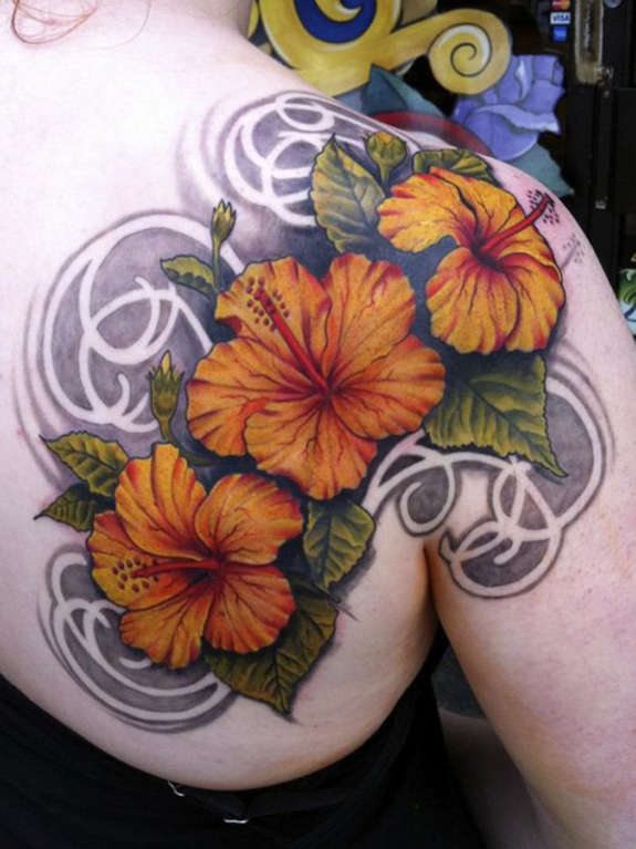 Outstanding Hibiscus Flowers Tattoo On Shoulder