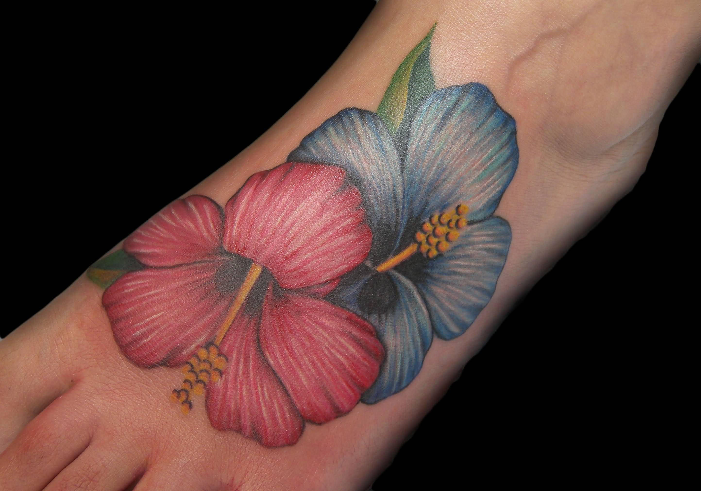 Realistic Hibiscus Flowers Tattoo On Foot