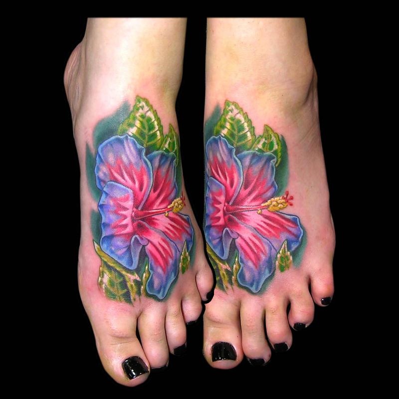 Realistic Hibiscus Tattoo On Foot By Aaron Goolsby