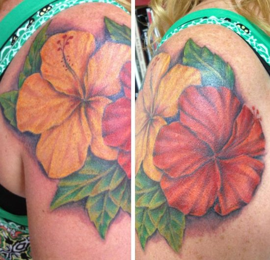 Realistic Yellow And Red Hibiscus Tattoo On Shoulder